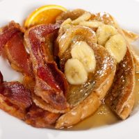 Banana Foster French Toast with Bacon